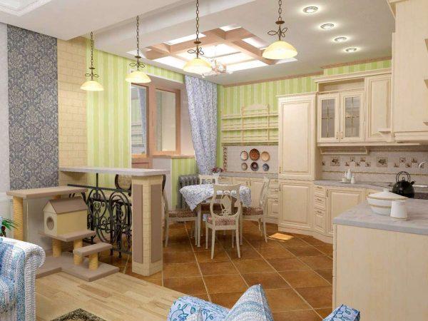 дизайн кухни совмещённой с гостиной в частном доме с разным цветом стен
