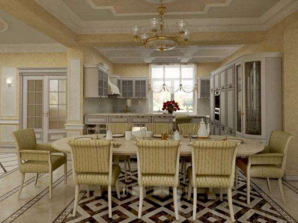 антиквариат классика на кухне совмещённой с гостиной в частном доме