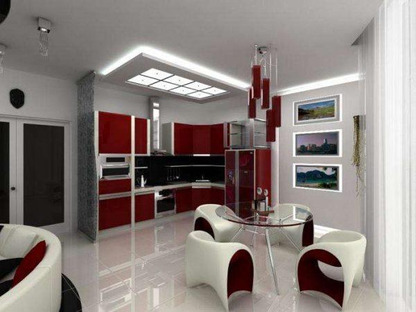 хай тек на кухне совмещённой с гостиной в загородном доме