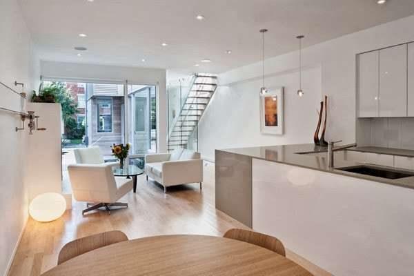 стиль минимализм на кухне совмещённой с гостиной в частном доме