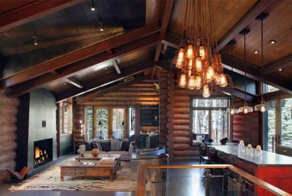 кухня совмещённая с гостиной в частном доме в стиле кантри и лофт одновременно