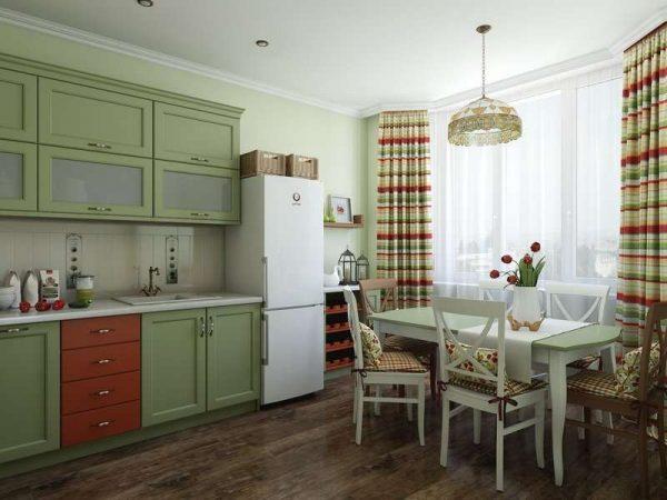 мебель на кухне оливкового цвета