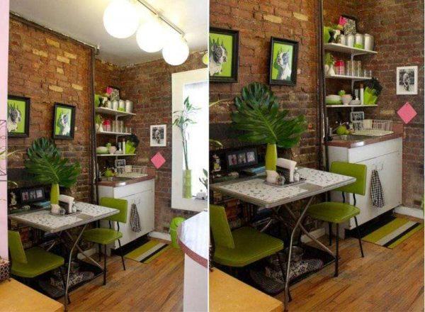 стулья оливкового цвета на кухне