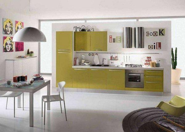 стильный кухонный гарнитур оливкового оттенка
