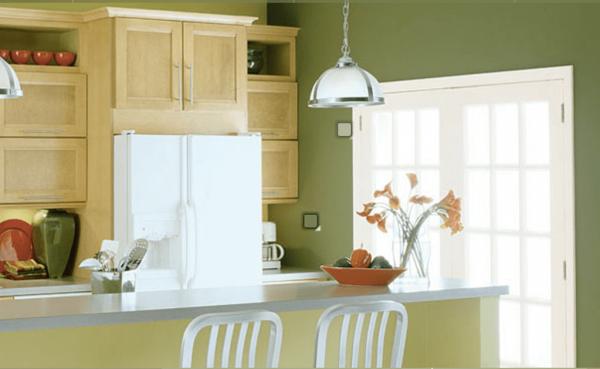 оливковые стены на кухне оливкового цвета