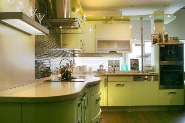 оливковый гарнитур на кухне