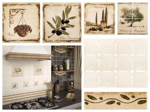 керамическая плитка для кухни оливкового цвета