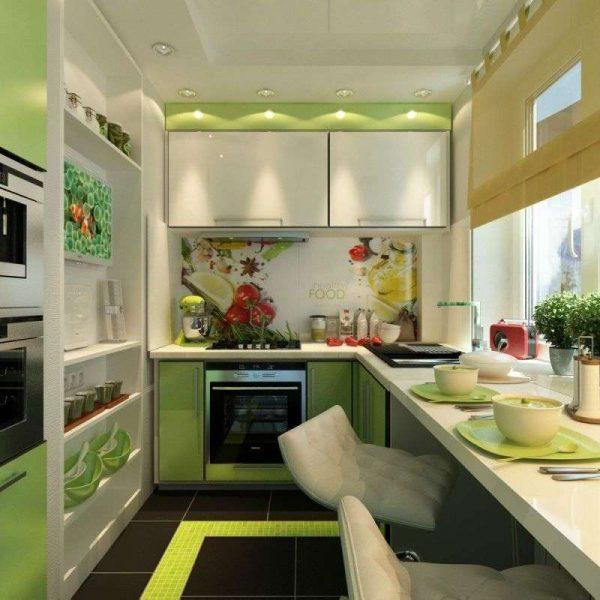 маленькая кухня оливкового цвета