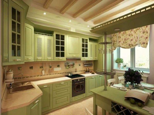 угловая кухня оливкового цвета с барной стойкой