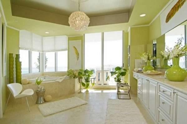 стены на кухне оливкового цвета