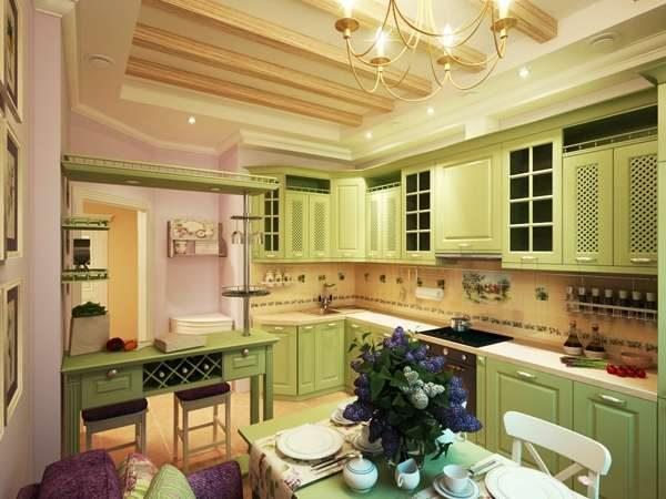 кухня в деревенском стиле оливкового цвета