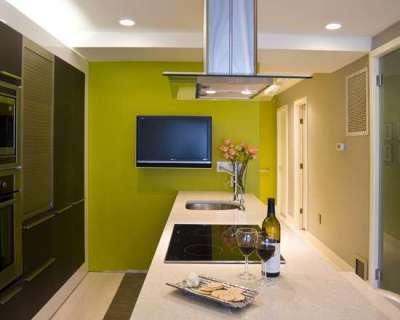 стена салатового цвета на кухне