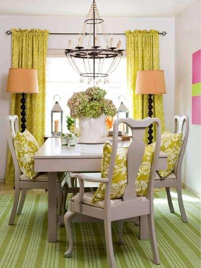 салатовый текстиль в интерьере кухни