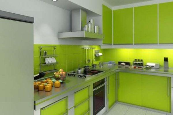кухонный гарнитур салатового цвета угловой