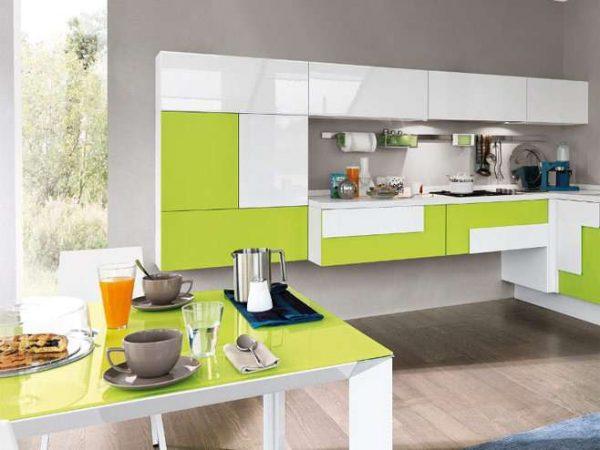 салатовый с белым цветом на кухне