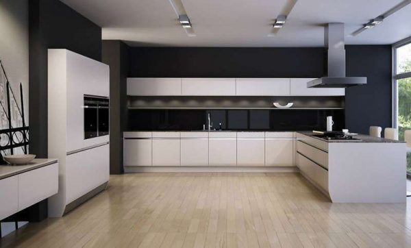 чёрная стена на кухне в стиле минимализм