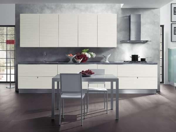 серые стены на кухне в стиле минимализм