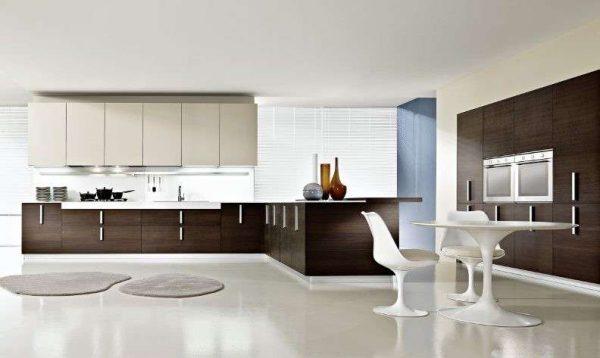 бело-шоколадная кухня в стиле минимализм