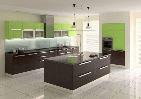 коричневый и зелёный цвет на кухне в стиле минимализм