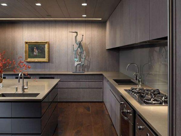 деревянные панели на кухне в стиле минимализм