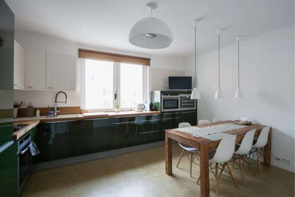 чёрно-белая кухня в стиле минимализм