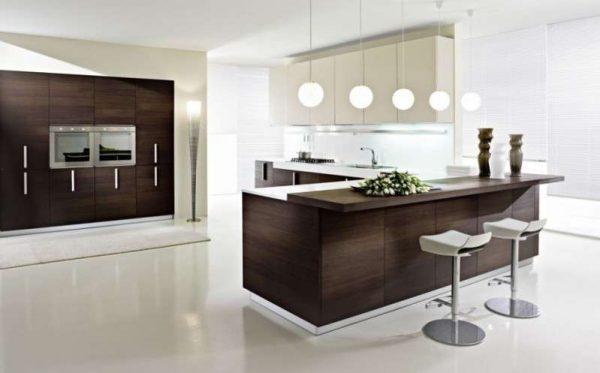 белые полы на кухне минимализм