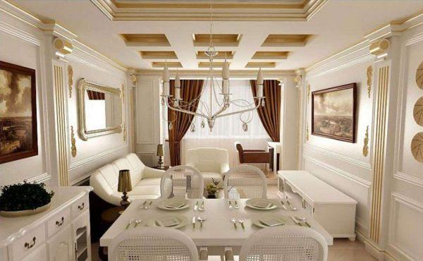 белая кухня с обеденной зоной в стиле неоклассика