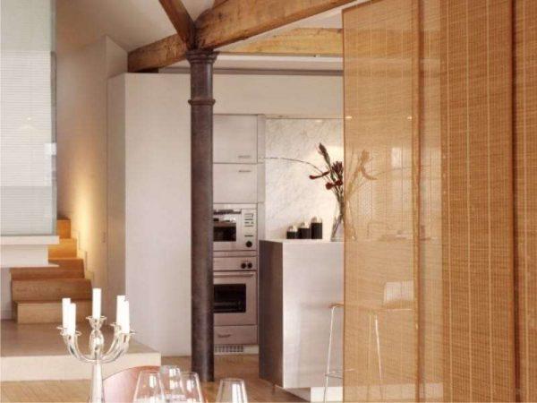 шторы в японском стиле на кухне