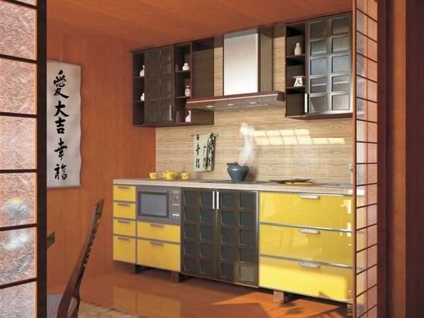 декор на стене кухни в японском стиле