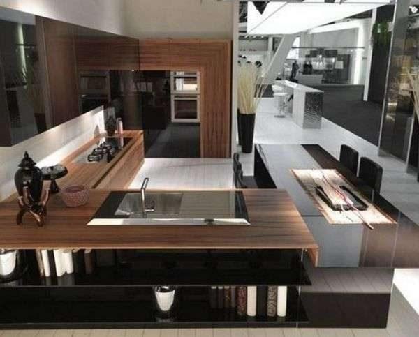 угловой гарнитур на кухне в японском стиле