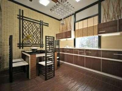 бамбук на стене кухни в японском стиле