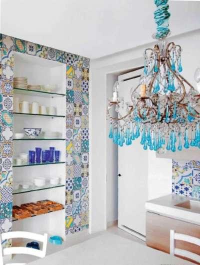 голубая люстра для кухни