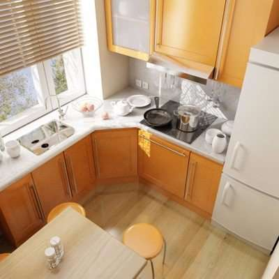угловой гарнитур с холодильником на маленькой кухне