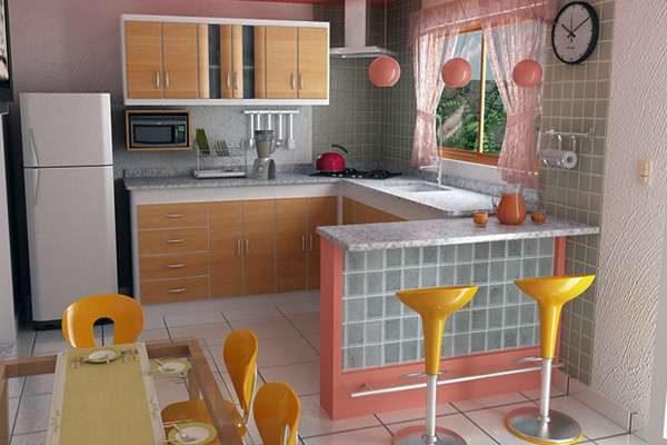 розовый и оранжевый цвет на маленькой кухне