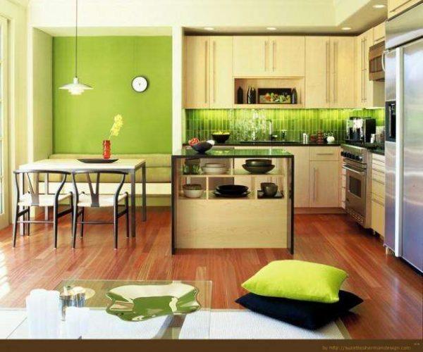 зелёные обои на кухне