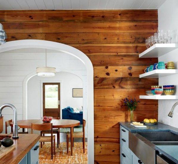 деревянные панели на кухне