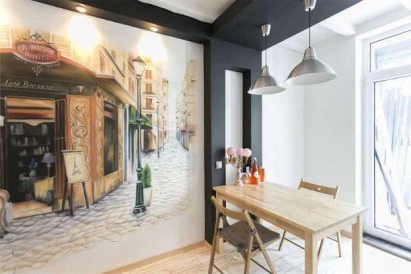 Аэрографический рисунок на стене кухни