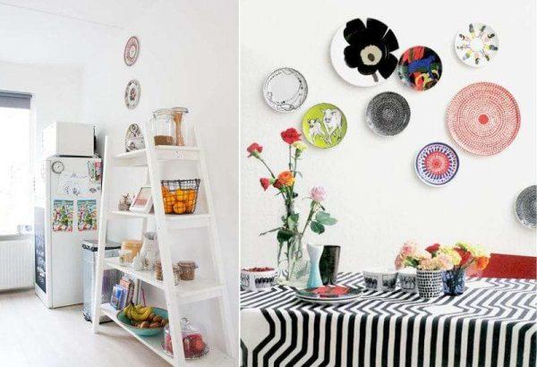 стильные тарелки на стенах кухни