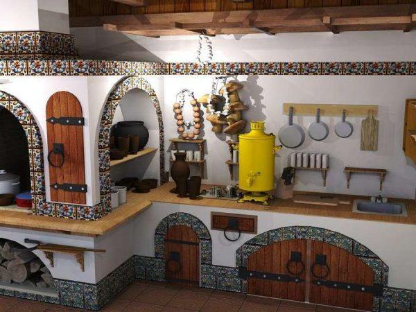 русский стиль на кухне в доме с печкой