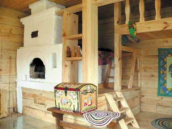 кухня в частном доме с печкой