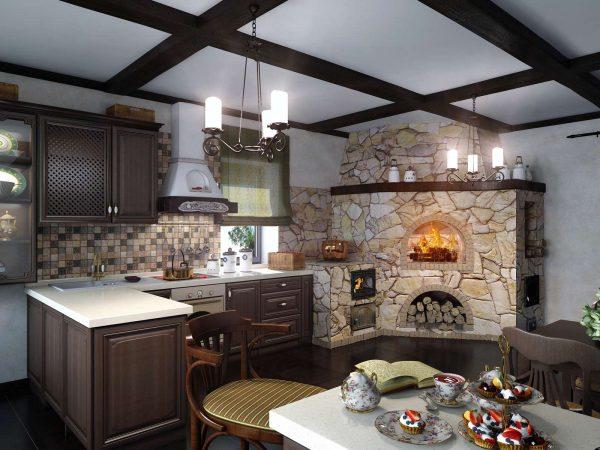 печка из камня на кухне частного дома