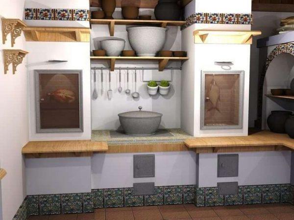 белая печка на кухне дома