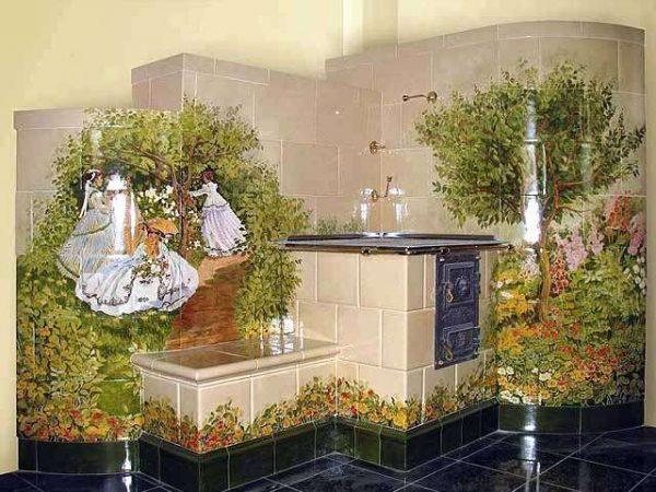 кухня в частном доме с печкой из керамической плитки