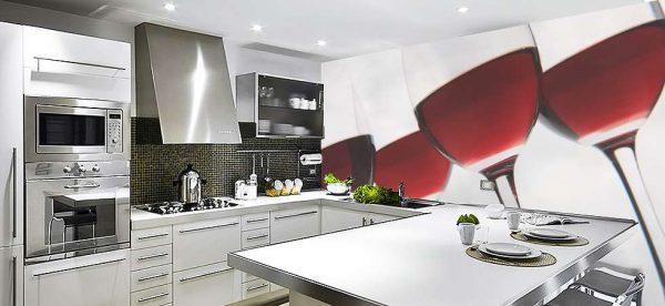 фотообои в интерьере кухни хай тек