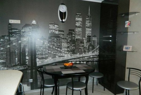 фотообои в интерьере кухни в стиле хай тек