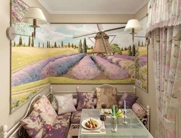 лавандовый пейзаж на кухне прованс