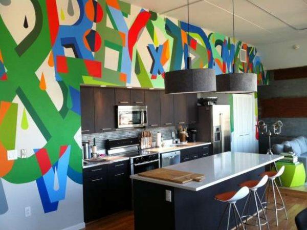 фоновые фотообои в интерьере кухни