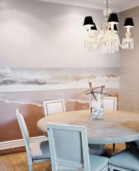 панорамные фотообои в интерьере кухни