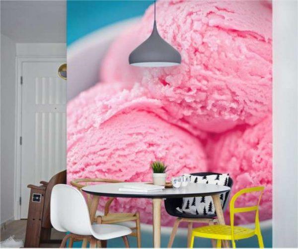 яркие предметные фотообои в интерьере кухни