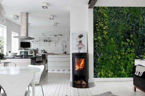 фотообои с изображением листвы в интерьере кухни